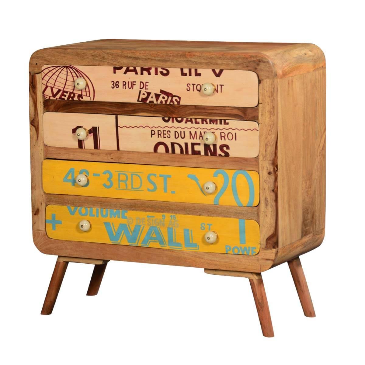 Unique Retro Stamps Solid Wood 4 Drawer Dresser