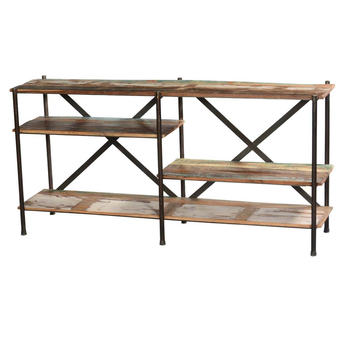 Double X Reclaimed Wood & Iron 65 Long Wall Unit Display Shelves