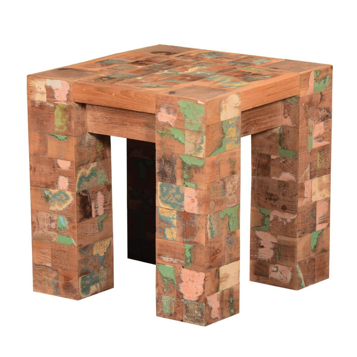 Oakdale Rustic Speckled Mosaic Reclaimed Wood Small Side End Table