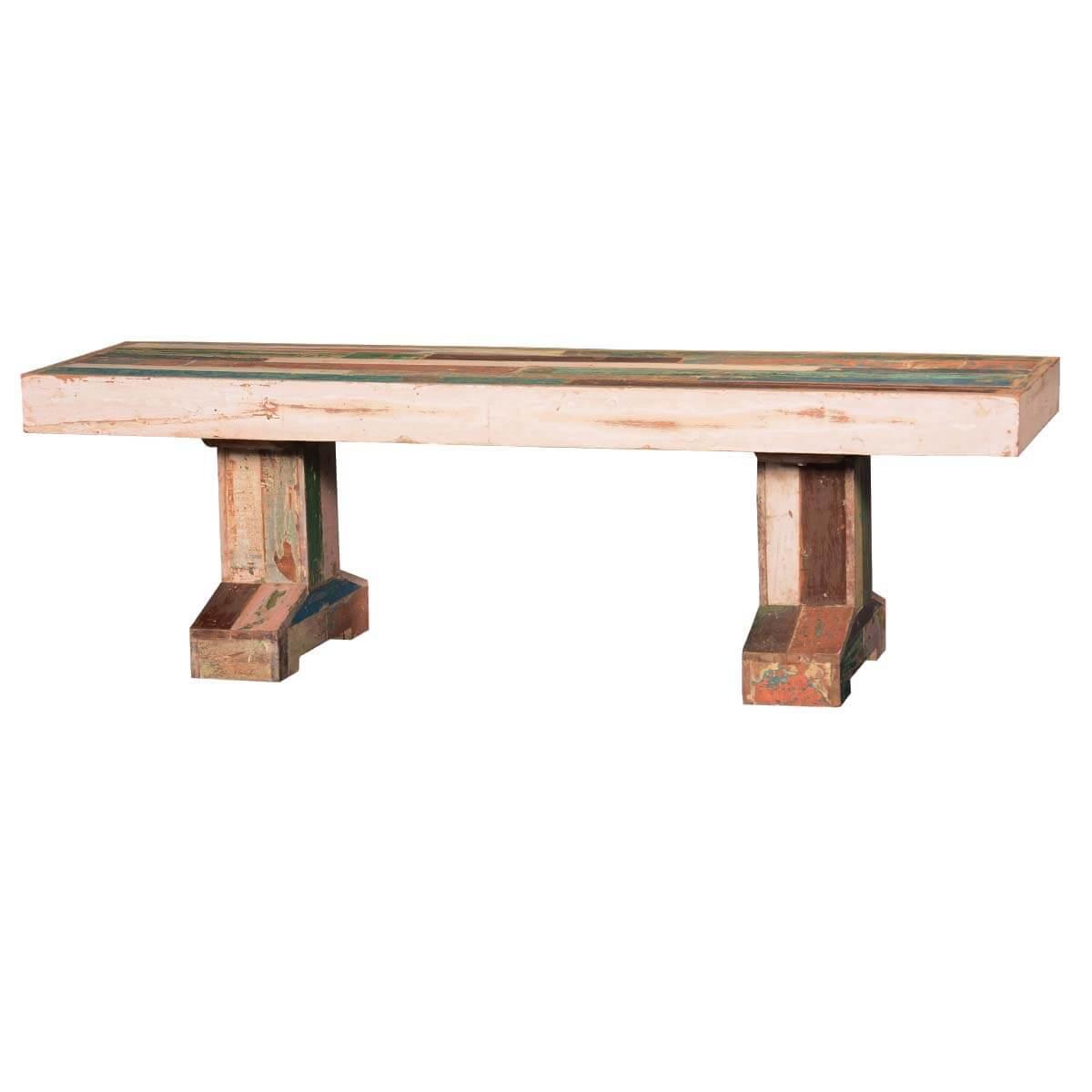 Etolin Reclaimed Wood Double Pedestal Bench