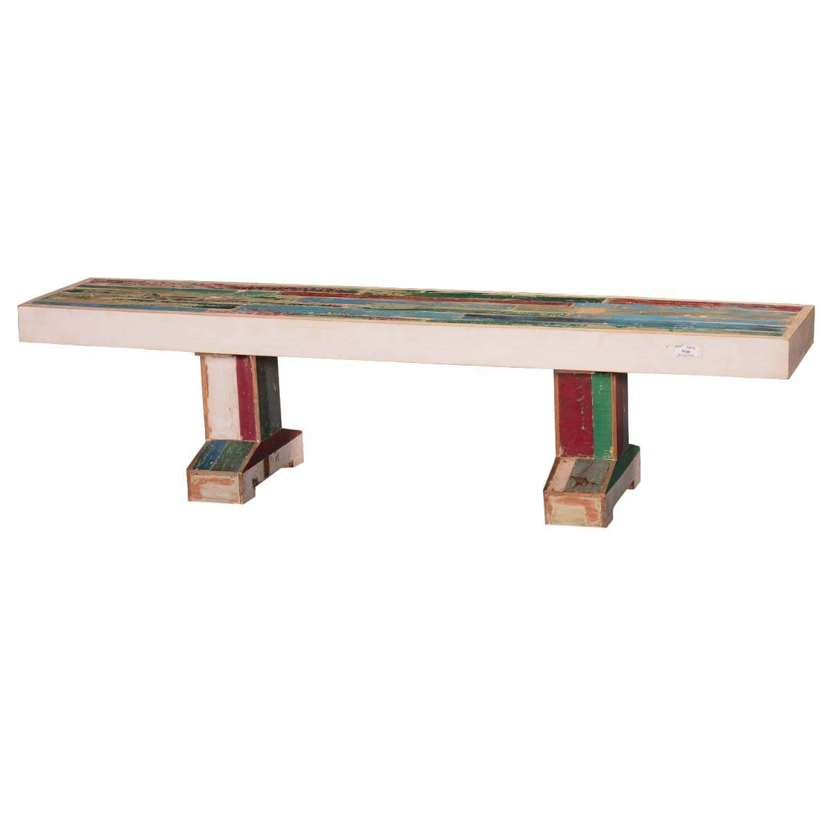 Leo Rustic Reclaimed Wood Double Pedestal Bench