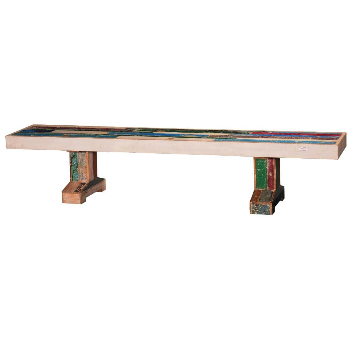 Primary Colors Distressed 87 Reclaimed Wood 2-Pedestal Bench