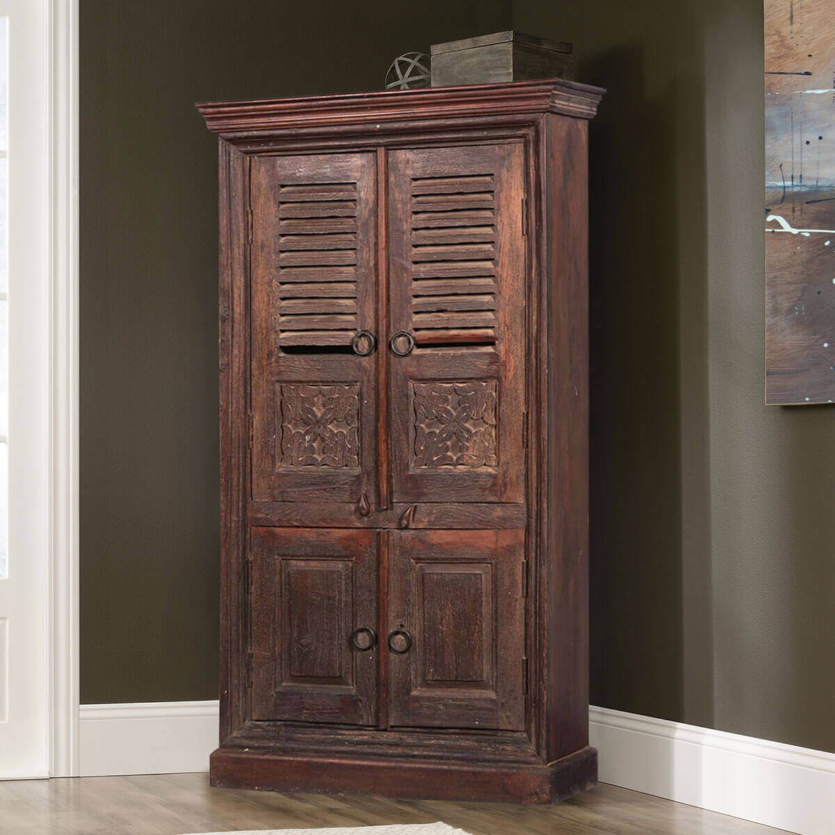Aniwa Louvered Door Rustic Solid Reclaimed Wood Armoire With Shelves