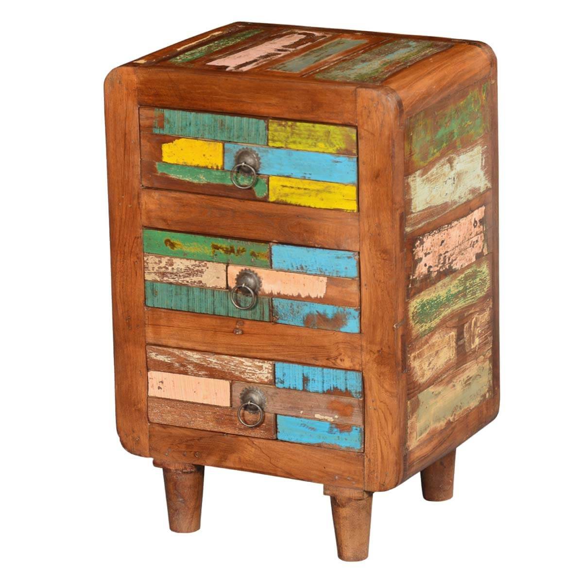 Rustic Reclaimed Wood Multi Colored Bedside End Table with 3 Drawers