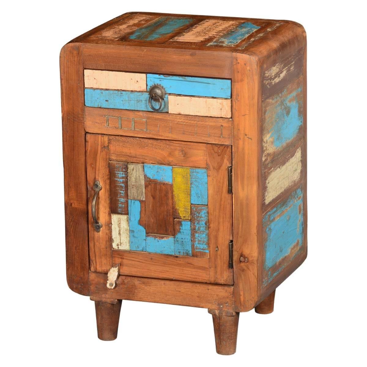 Azalia Rustic Reclaimed Wood 1 Drawer Bedside Nightstand