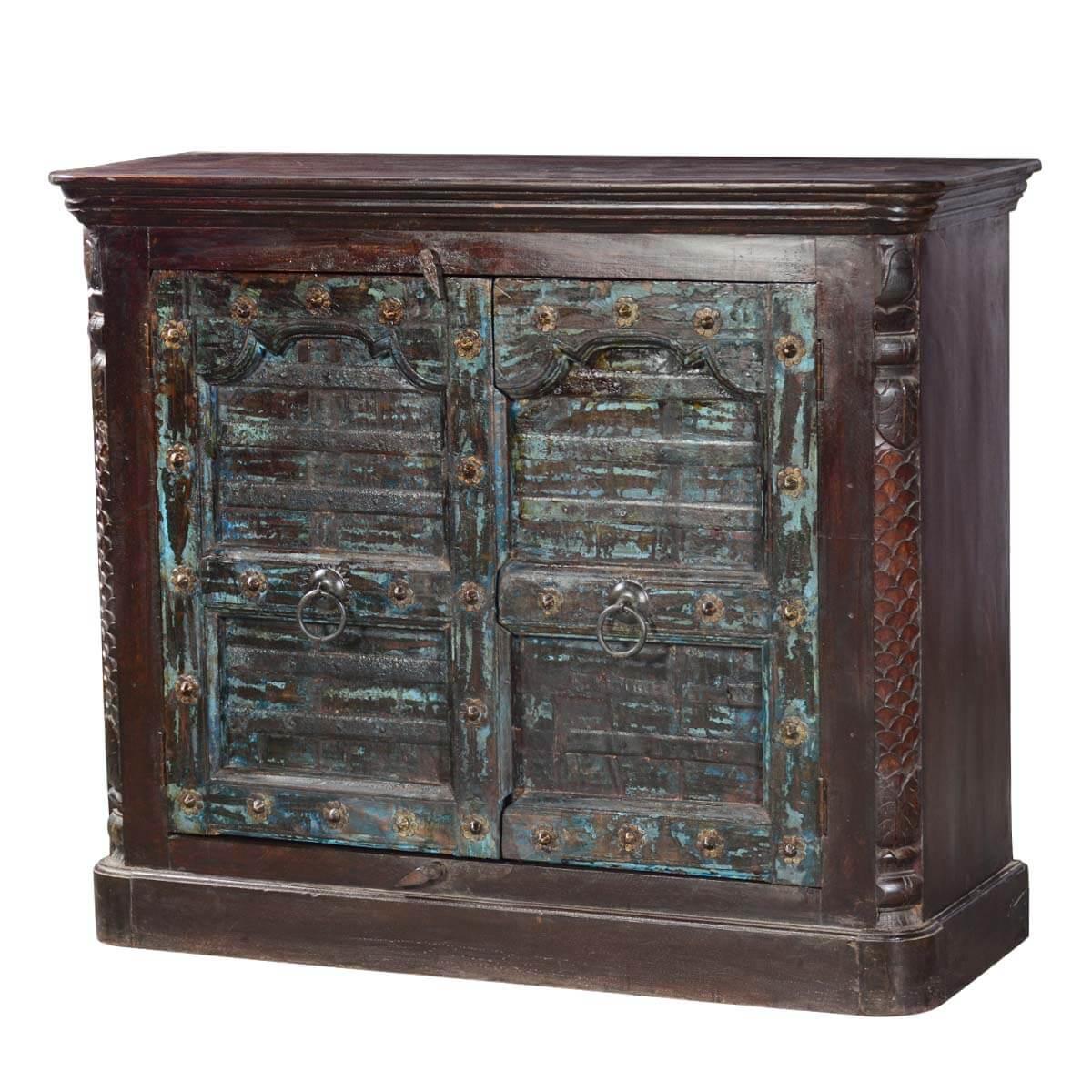 Rivesville Mango & Reclaimed Wood Gothic Gates Rustic Storage Cabinet