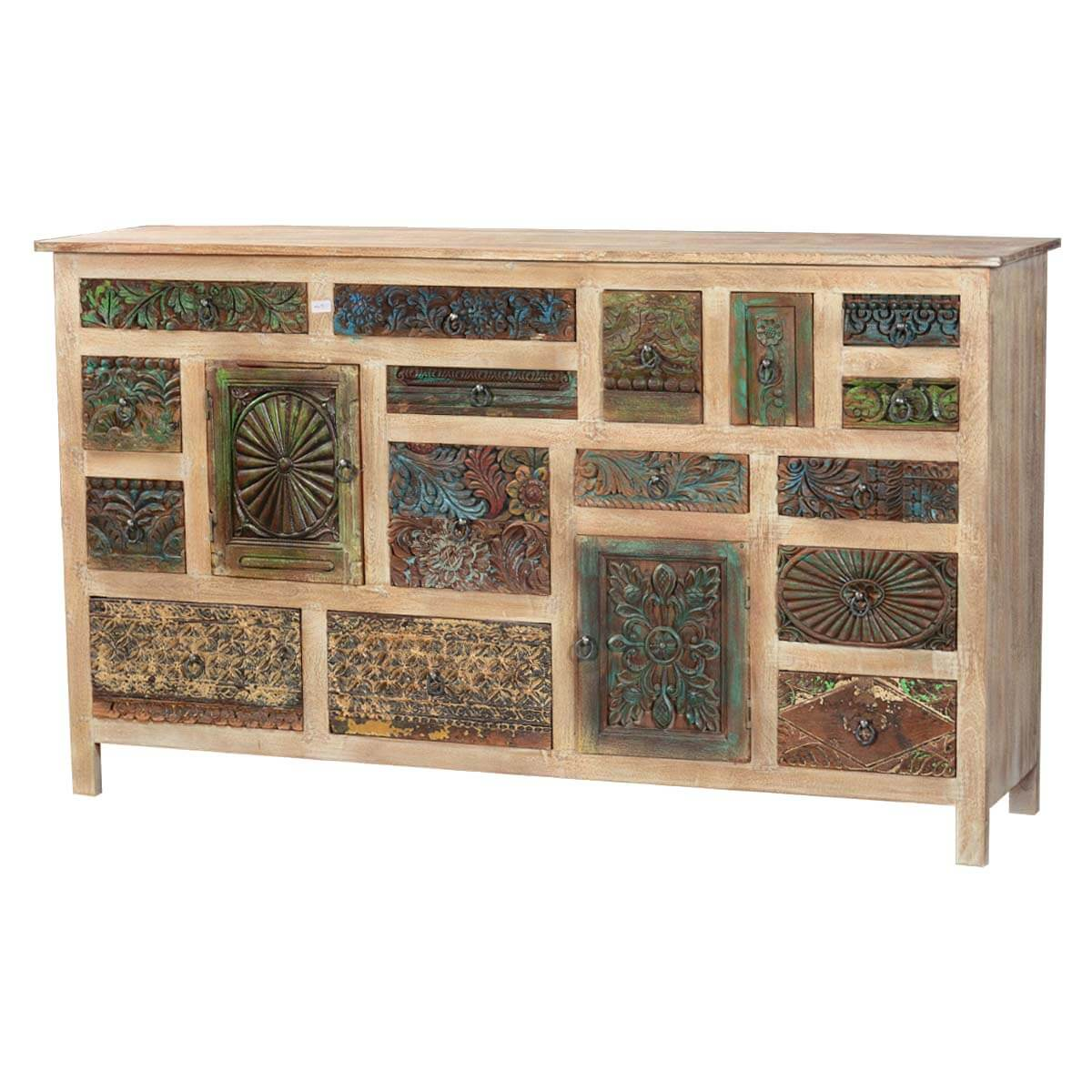 18 Compartment Keepsake Mango & Reclaimed Wood 71 Standing Chest
