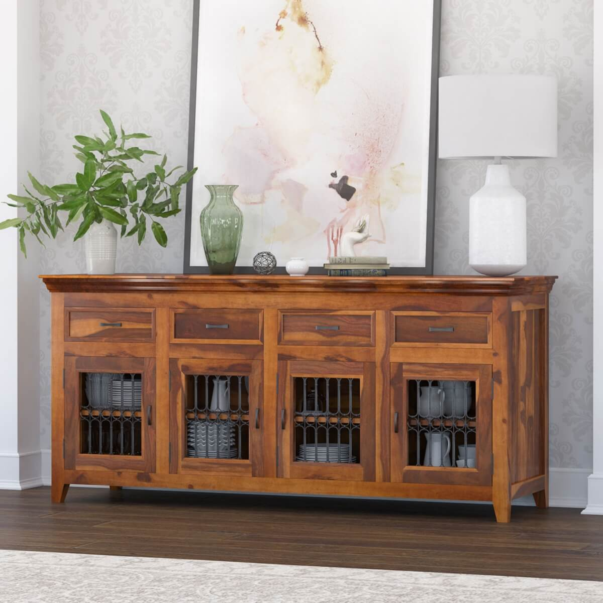 San Francisco Modern Texas Solid Wood 4 Drawer Large Buffet Cabinet