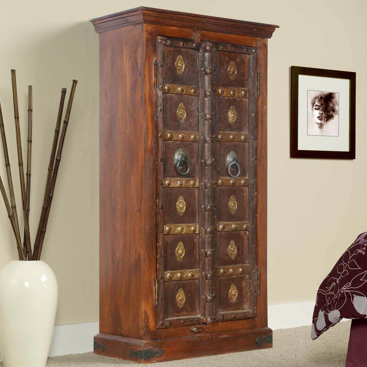Broward Golden Medallions Mango & Reclaimed Wood 2 Door Armoire