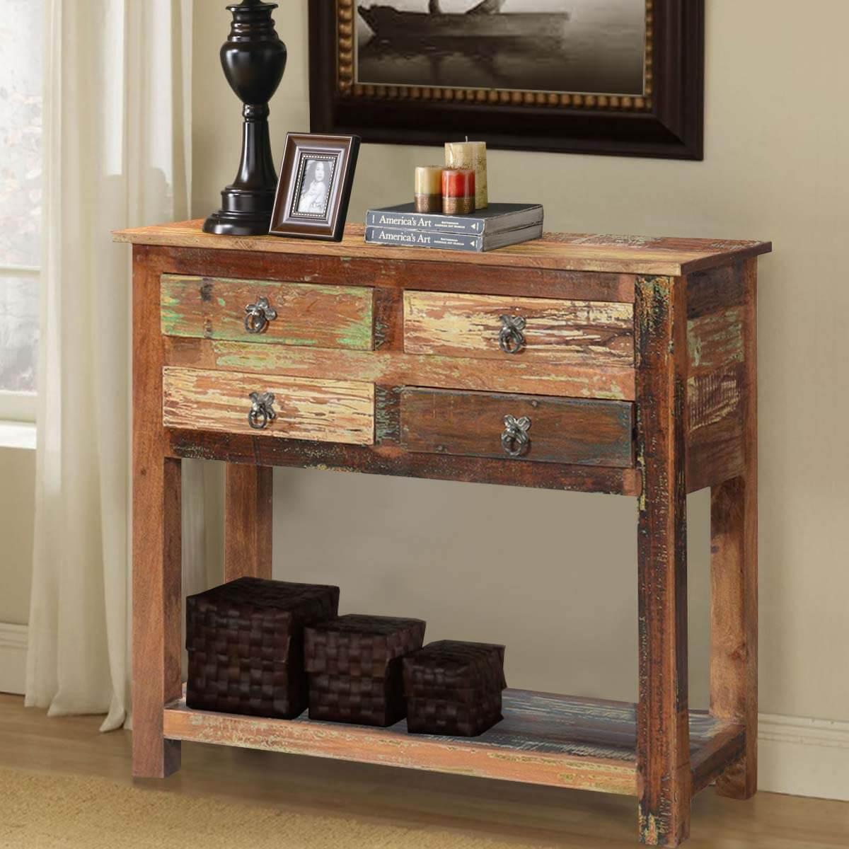 buy popular 880db 10718 Ashland Rustic Reclaimed Wood 4 Drawer Hallway Console Table