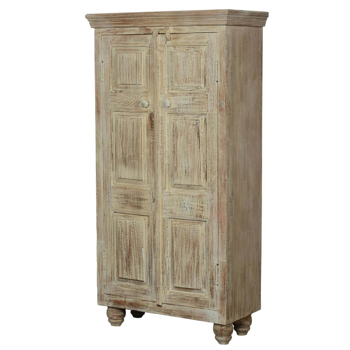 Duson Rustic Distressed Finish Solid Mango Wood Armoire With Shelves