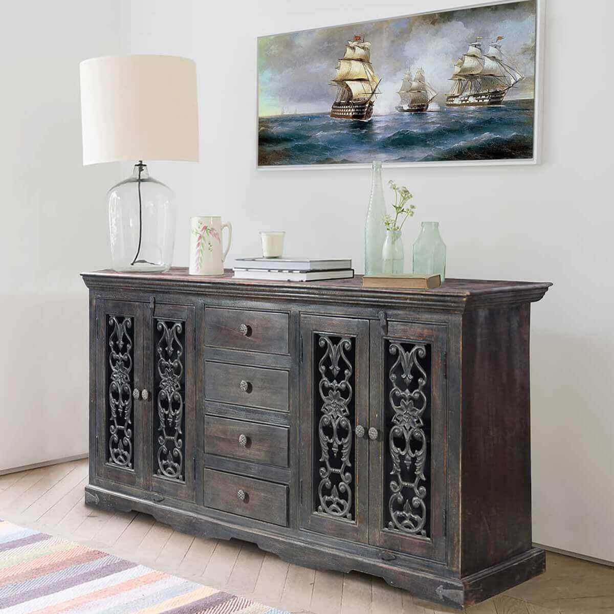 Smokey Grey Traditional Rustic Solid Wood 4 Drawer Large Sideboard