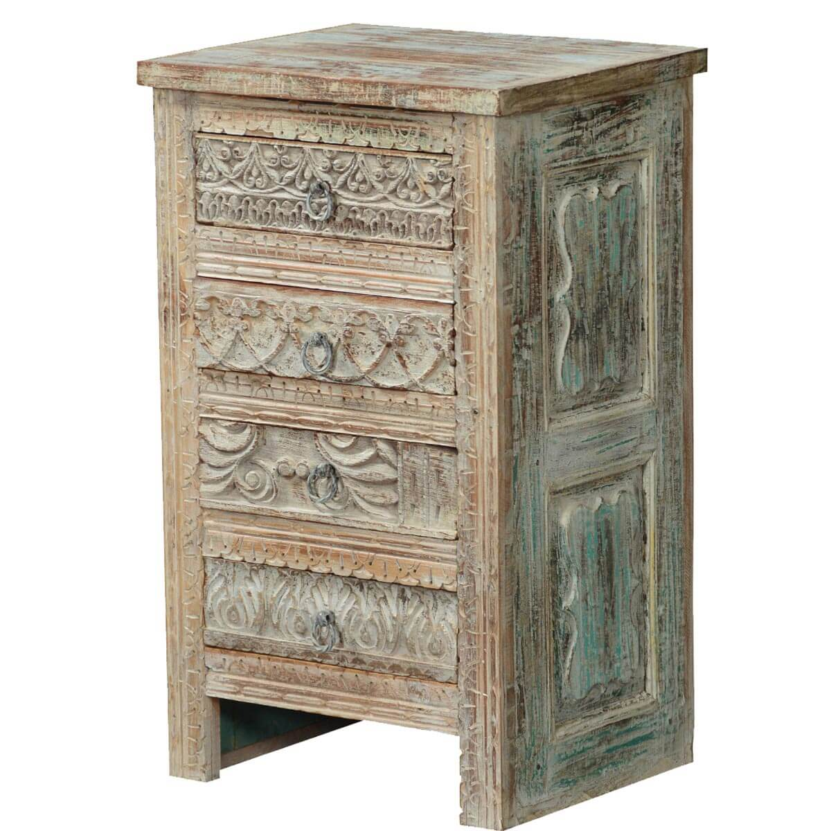 Tudor Winter White Rustic Mango Wood 4 Drawer Nightstand