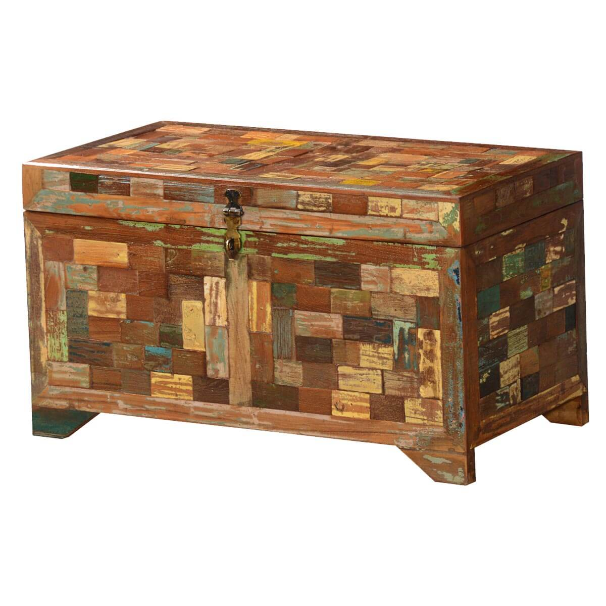 Biehle Handcrafted Reclaimed Wood Mosaic Rustic Storage Trunk