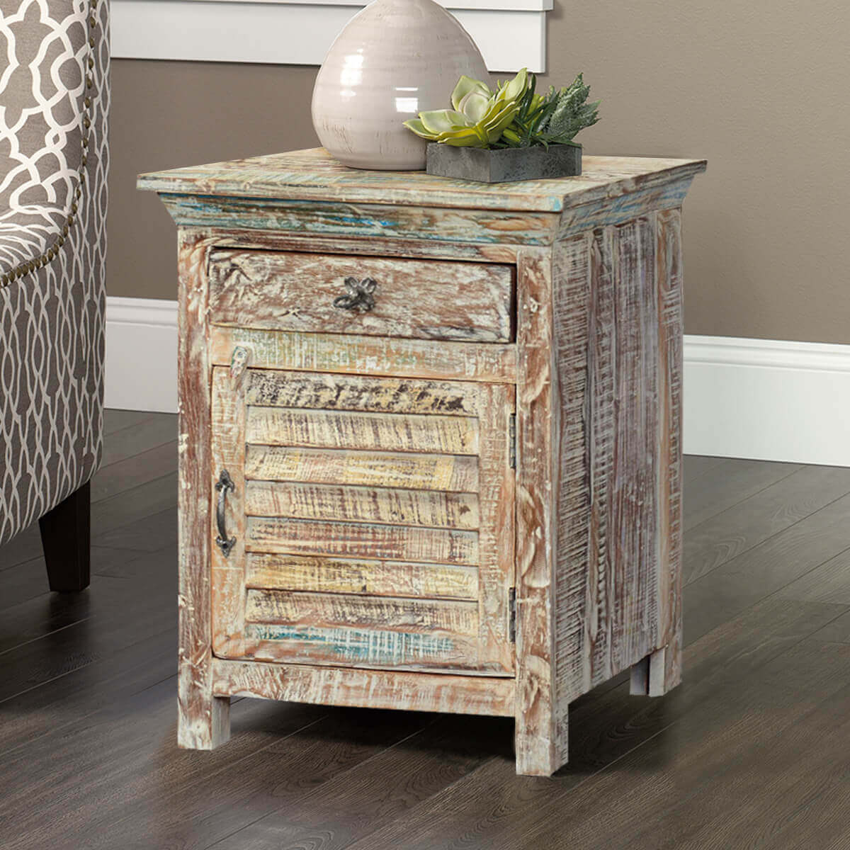 Winter White Shutter Door Reclaimed Wood Nightstand End Table Cabinet