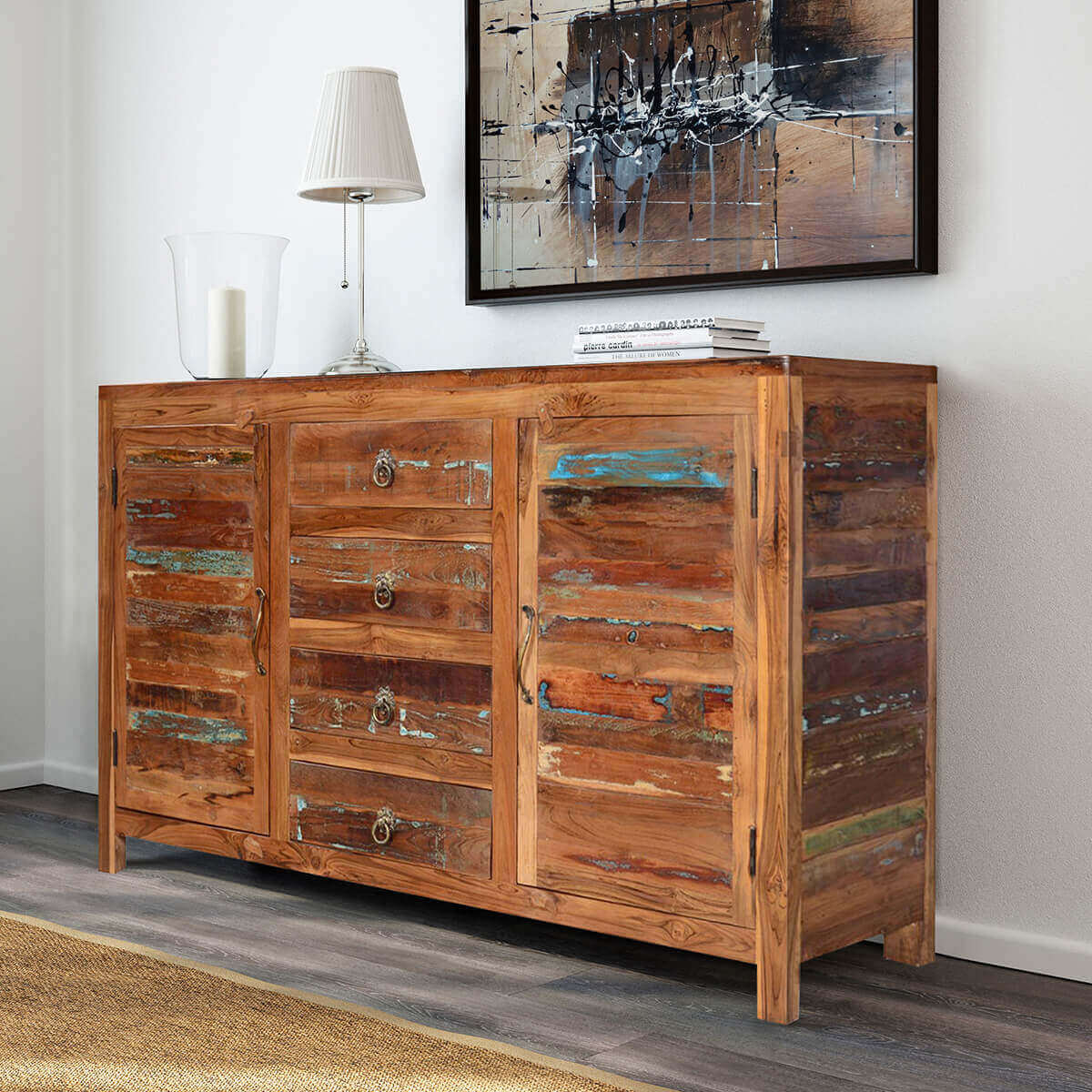 Santa Fe Distressed Rustic Reclaimed Wood 4 Drawer Large Sideboard