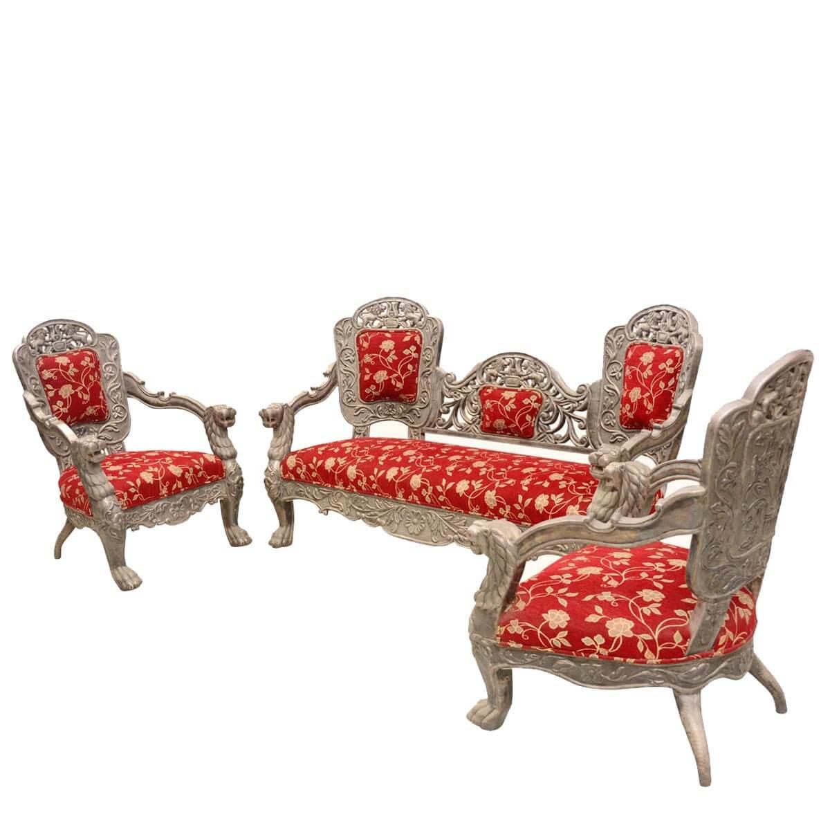 Elizabethan Summer Garden Teak & Silver Love Seat & 2 Chair Ensemble