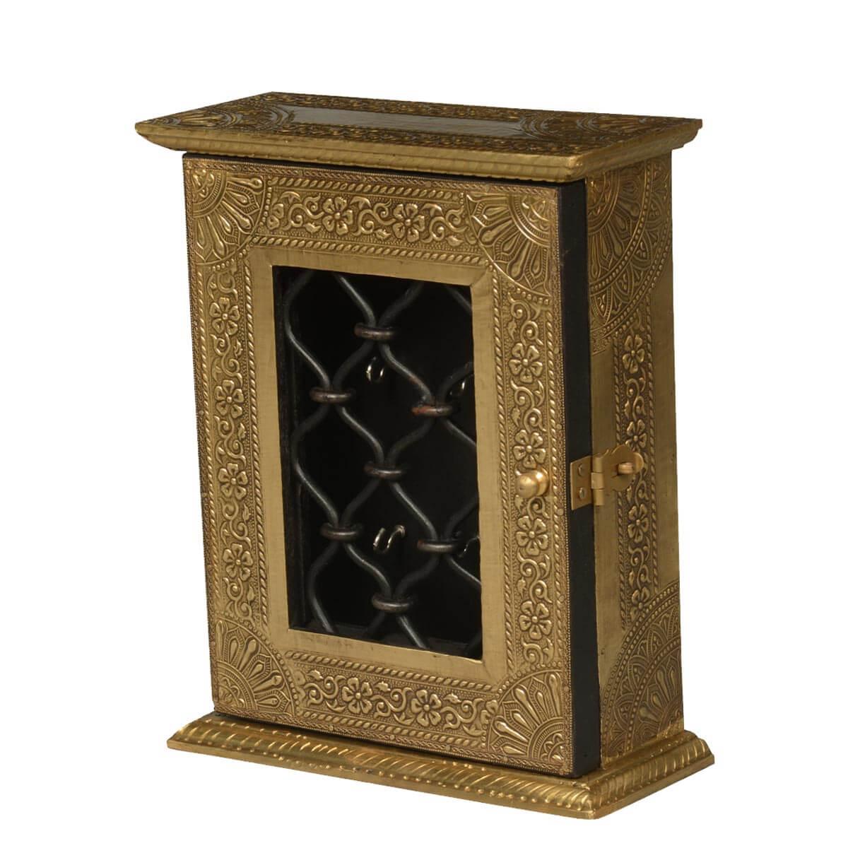 Golden Frame Mango Wood, Brass & Iron 9 Hook Key Box