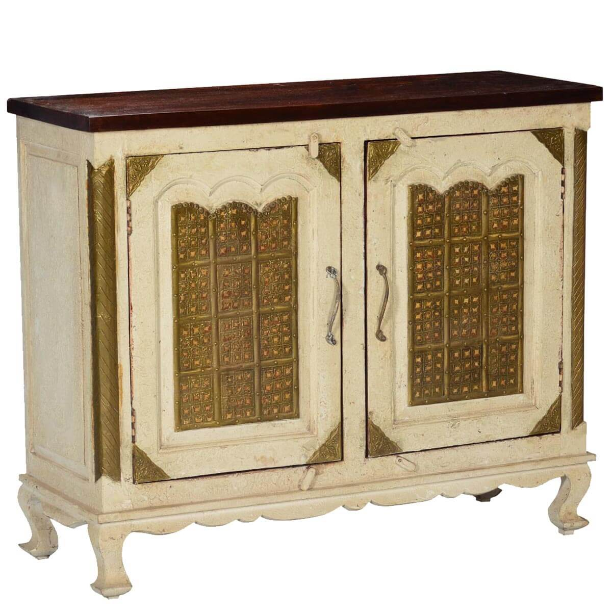 Golden Gates Antique White Mango Wood Brass Inlay Buffet