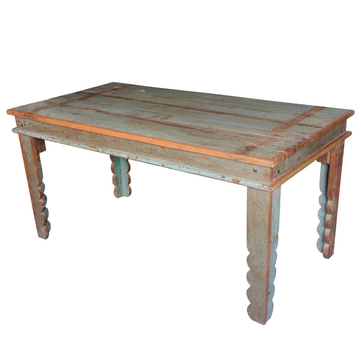 Appalachian Rustic Distressed Reclaimed Wood Pastel Kitchen Table