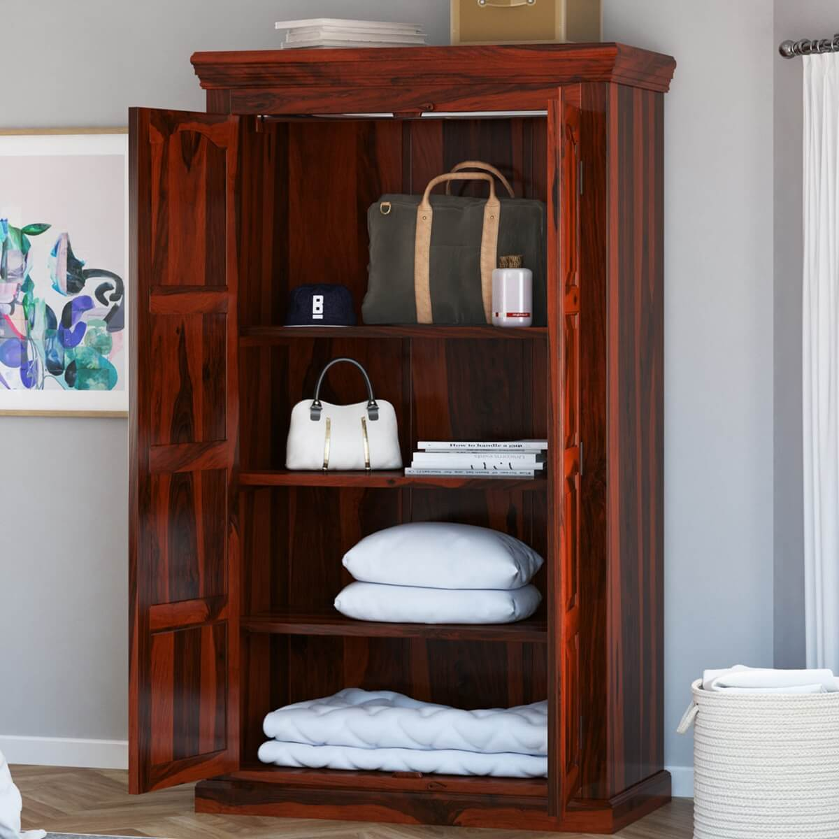 Lincoln Study Handcrafted Solid Wood Wardrobe Armoire With ...