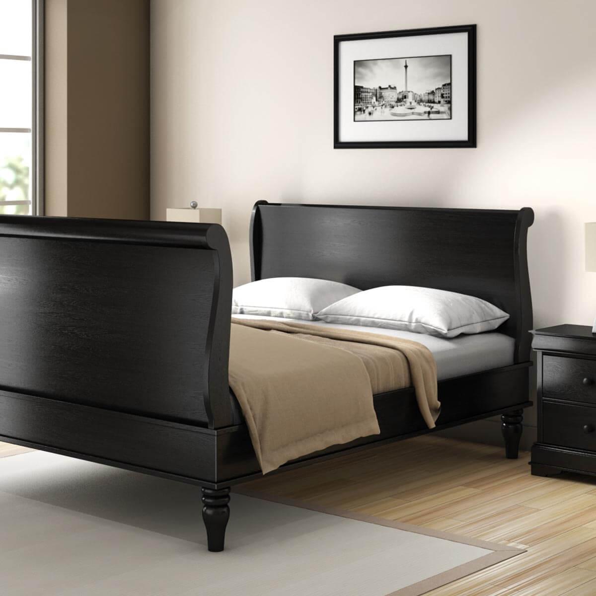Midnight Empire Solid Wood Platform Bed Frame