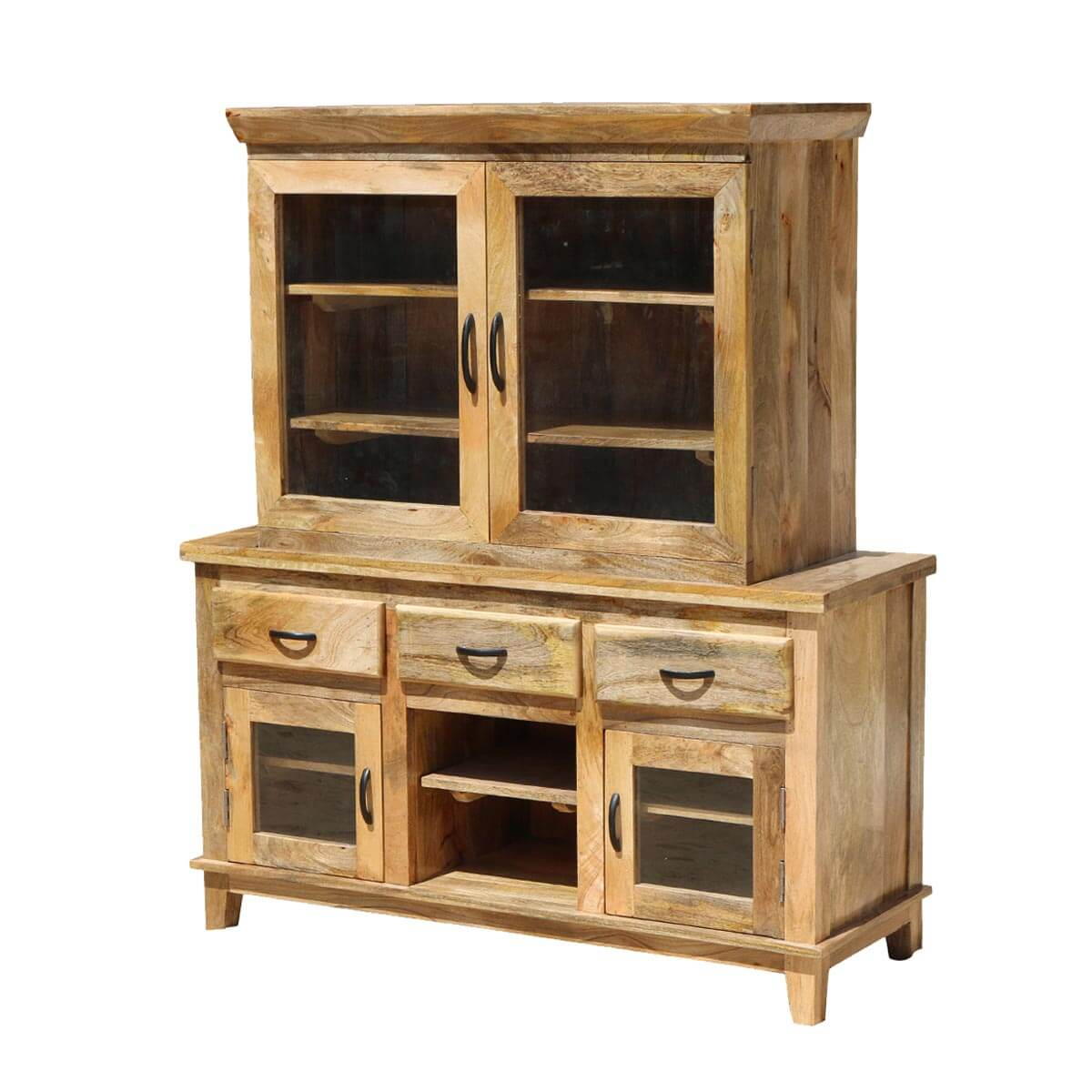 Aflon Rustic Mango Wood Glass Door Dining Sideboard with Hutch