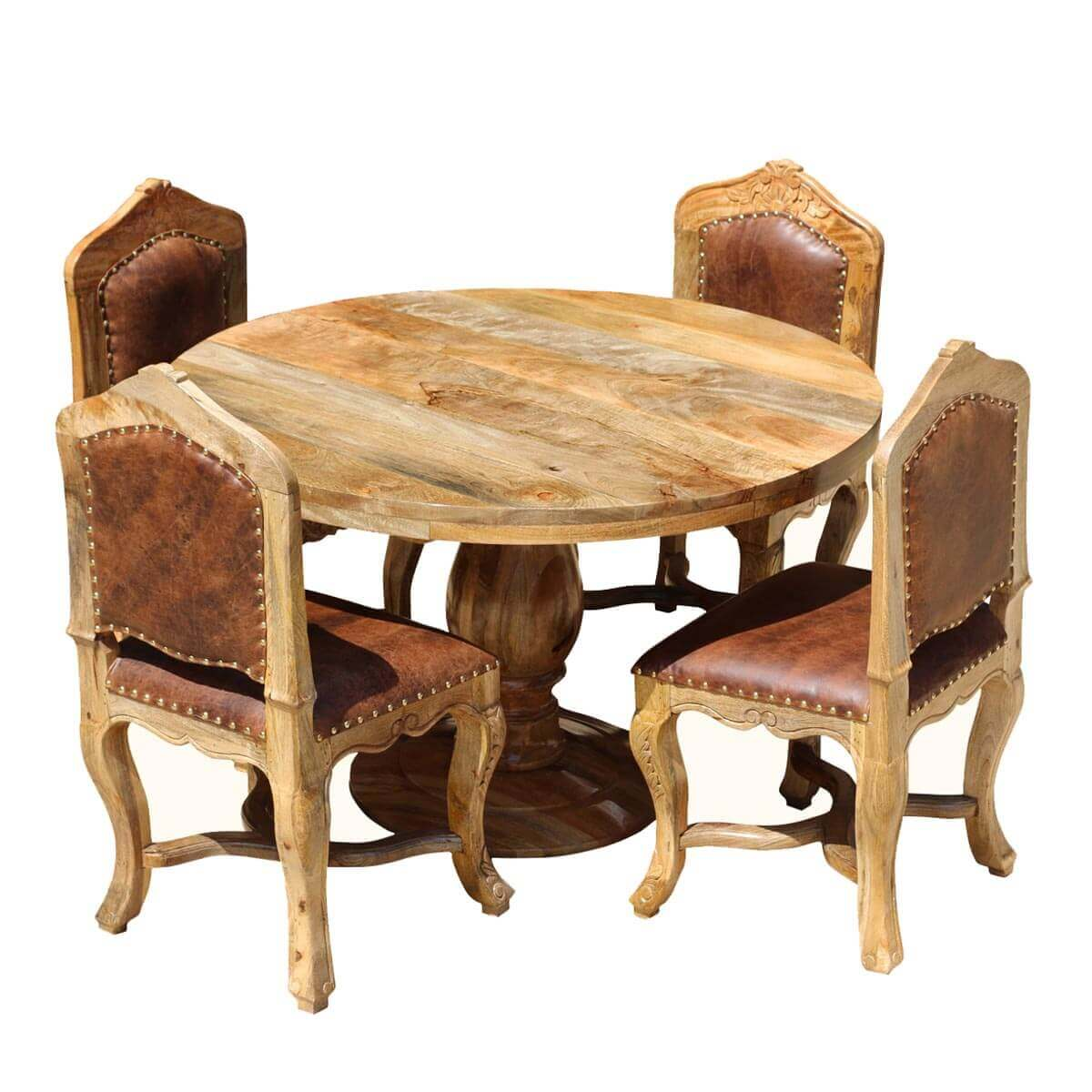 Round Dining Set For 4 - Empire Mango Wood With Upholstered