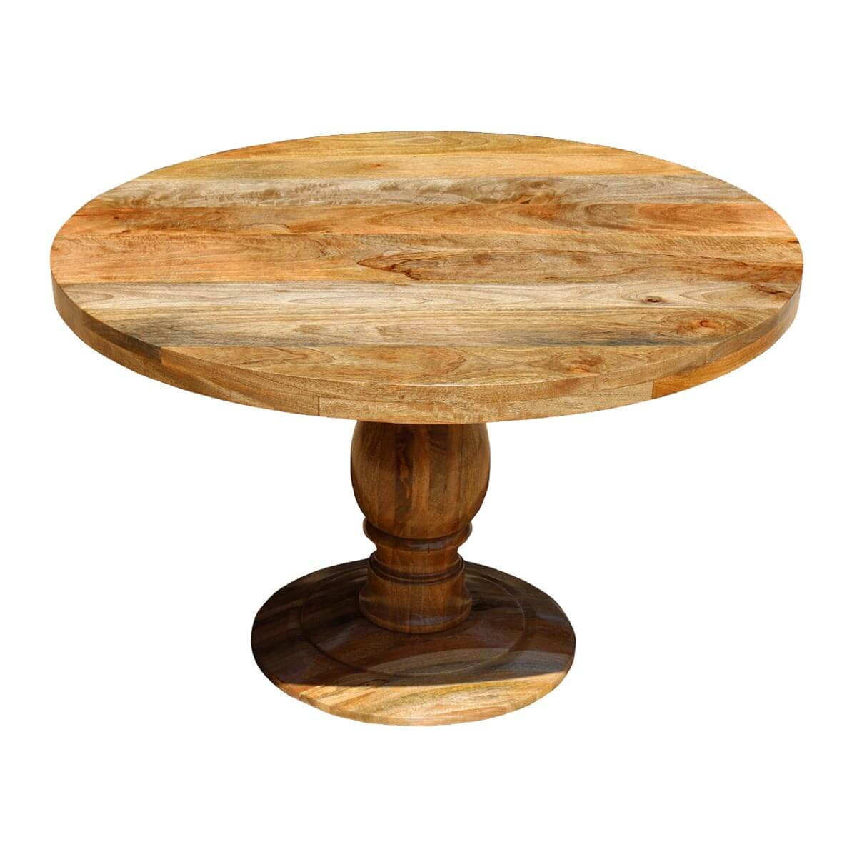 Rustic Mango Wood 48 Round Pedestal Dining Table