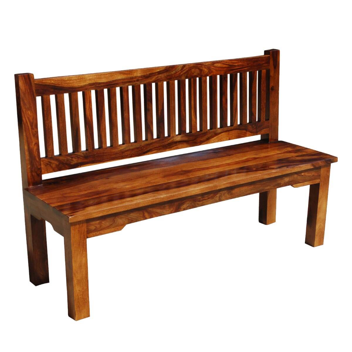 Santa Cruz Mission Solid Wood Rustic 57 Quot Bench W Back