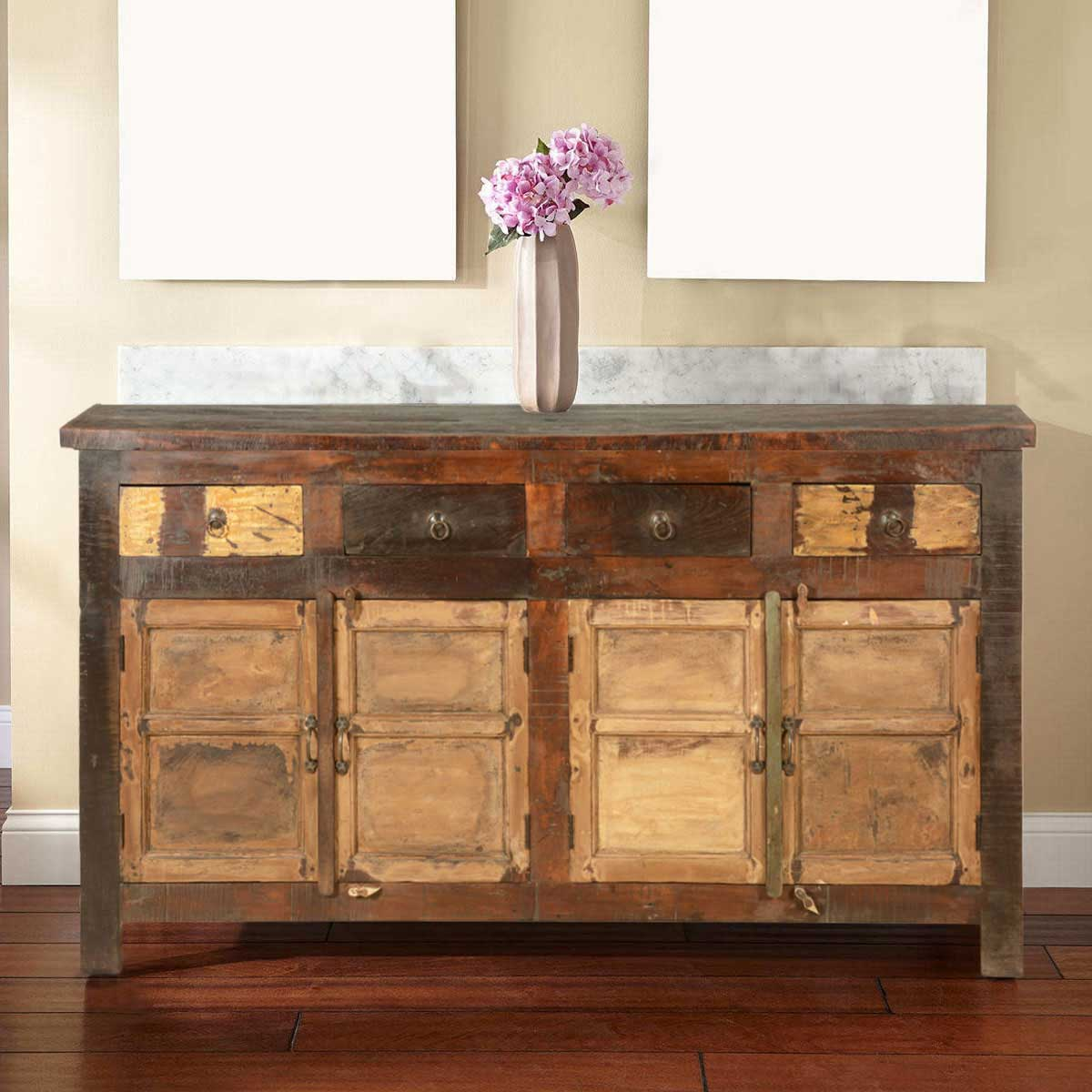 New England Rustic Reclaimed Wood 4 Drawer Large Sideboard Cabinet