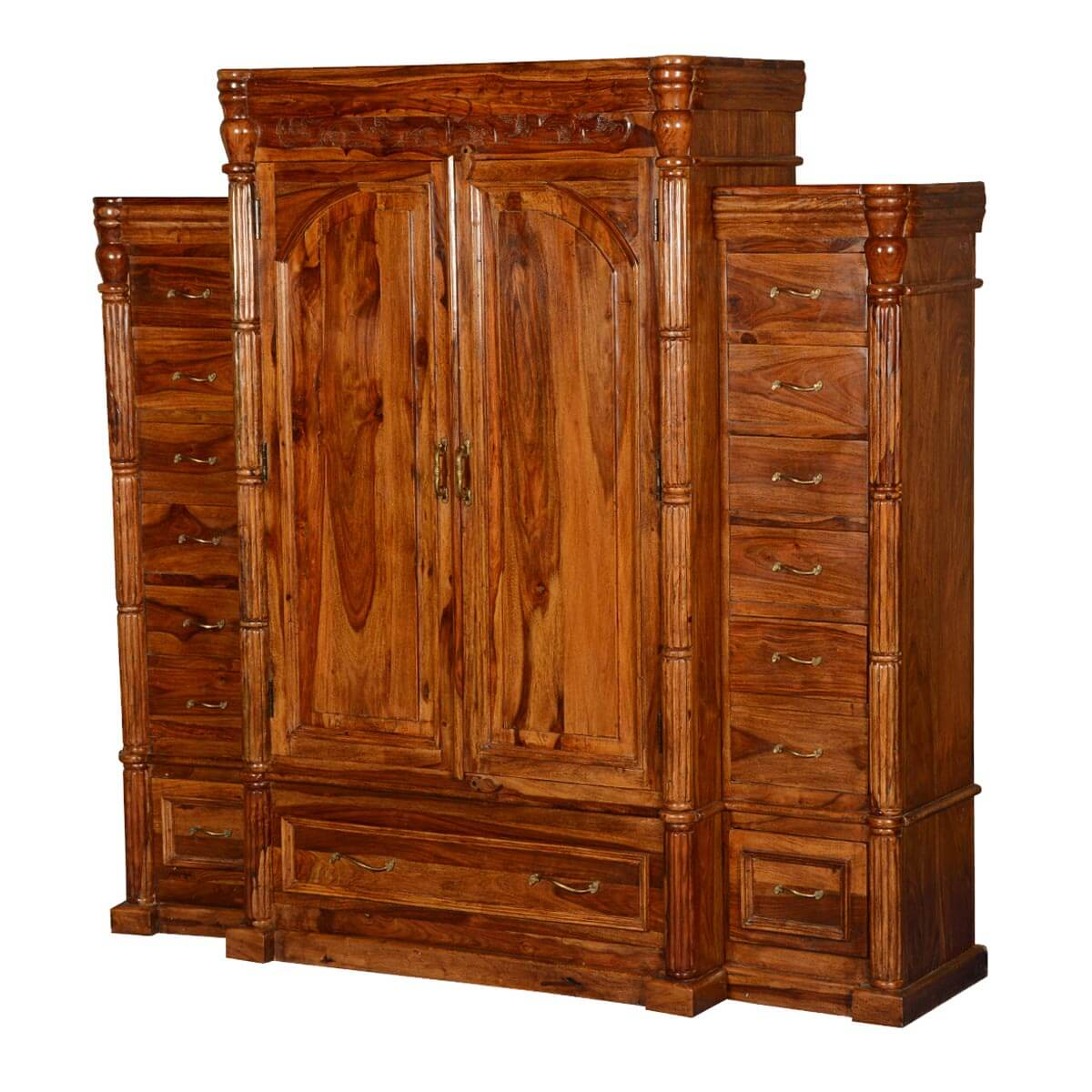 Royal Elizabethan Solid Wood Large Wardrobe Armoire With ...