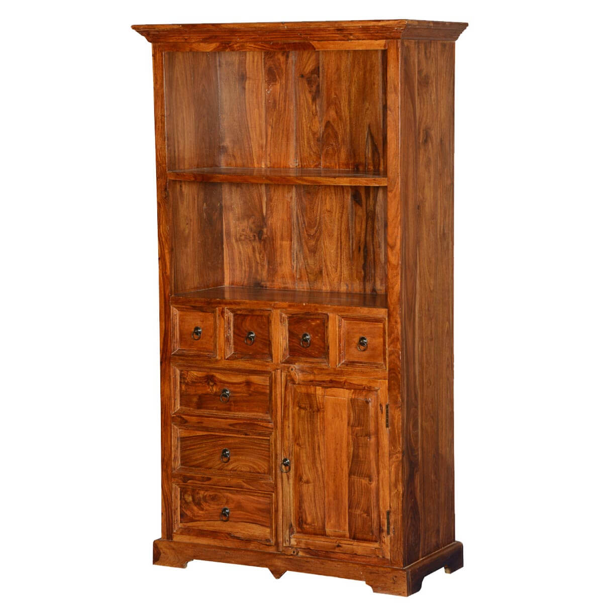 Gainesville 2 Open Shelf Rustic Wood Bookcase With Doors Drawers