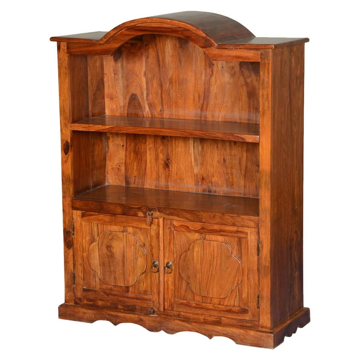 Pennsylvania Dutch 2 Open Shelf Rustic Solid Wood Bookcase Hutch