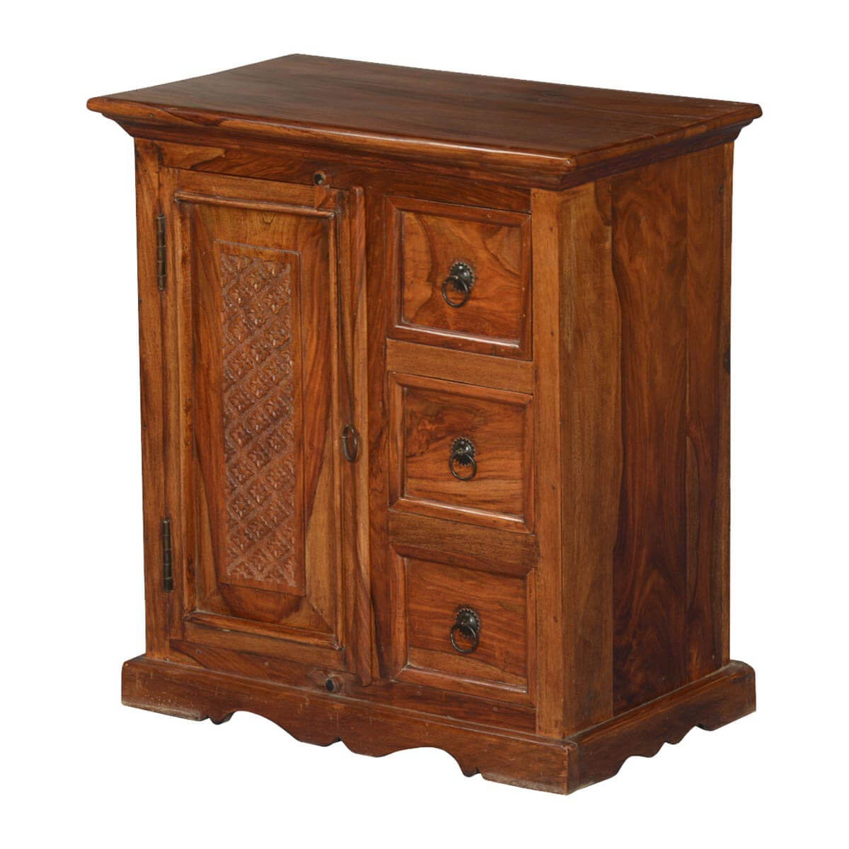 Dutch Colonial Solid Wood Small Cabinet Chest w 3 Drawers