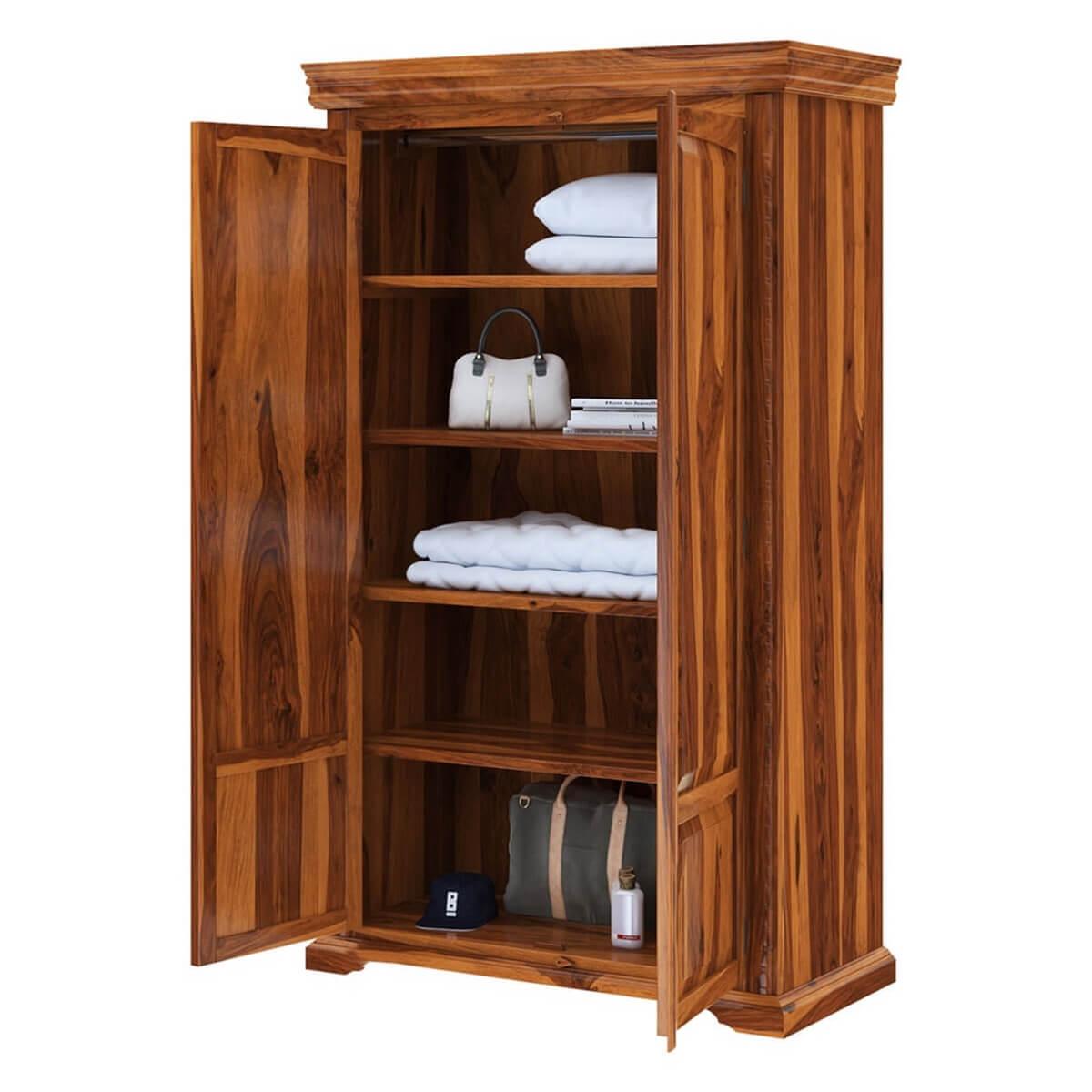 Empire Bedroom Rustic Solid Wood Large Armoire Wardrobe ...
