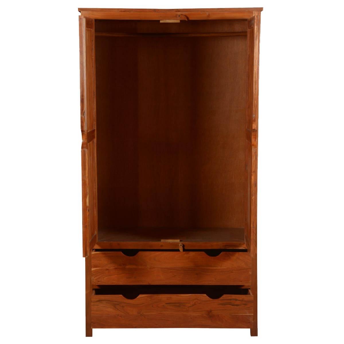 Ardencroft Rustic Solid Acacia Wood Large Armoire Wardrobe ...
