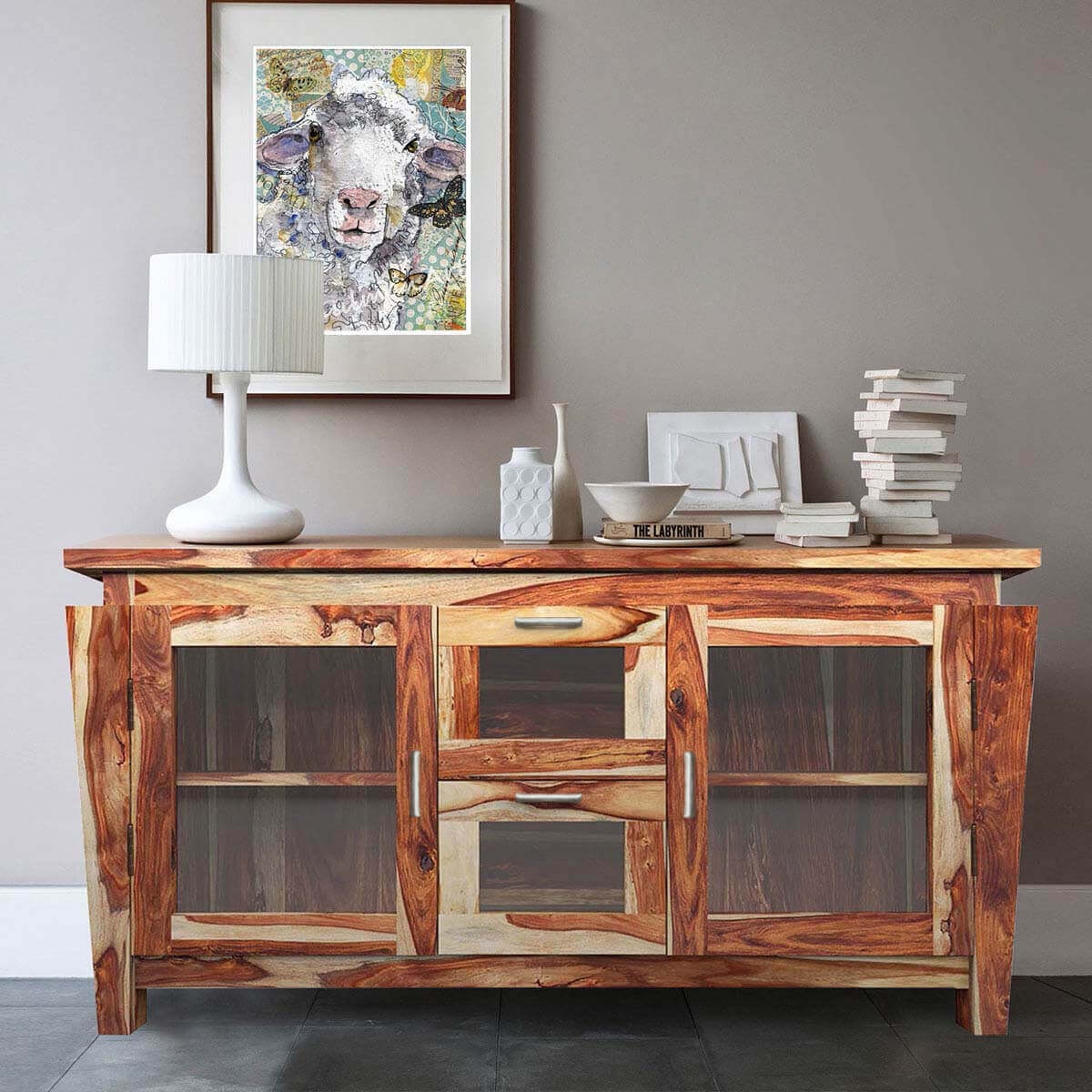 Dallas Ranch Solid Wood Glass Door Large Rustic Buffet Cabinet