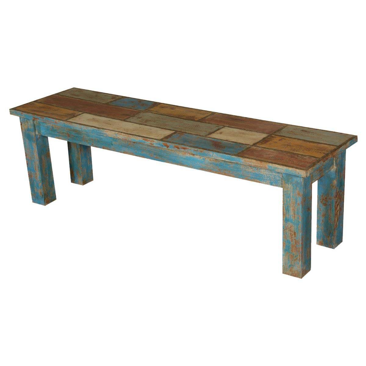 Francis wooden patches distressed acacia wood bench hover to zoom