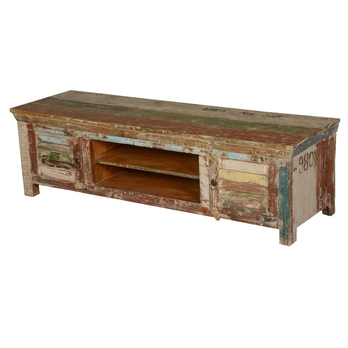 Shoreham Rustic Reclaimed Wood Open Shelf Shutter Door Media TV Stand