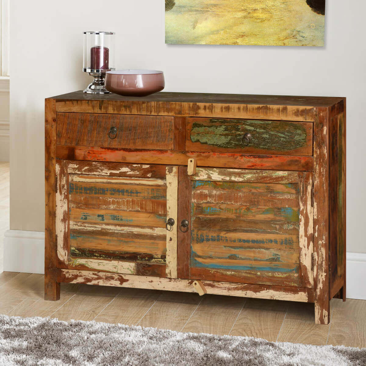 Jerome Rustic Reclaimed Wood 2 Drawer Buffet Cabinet