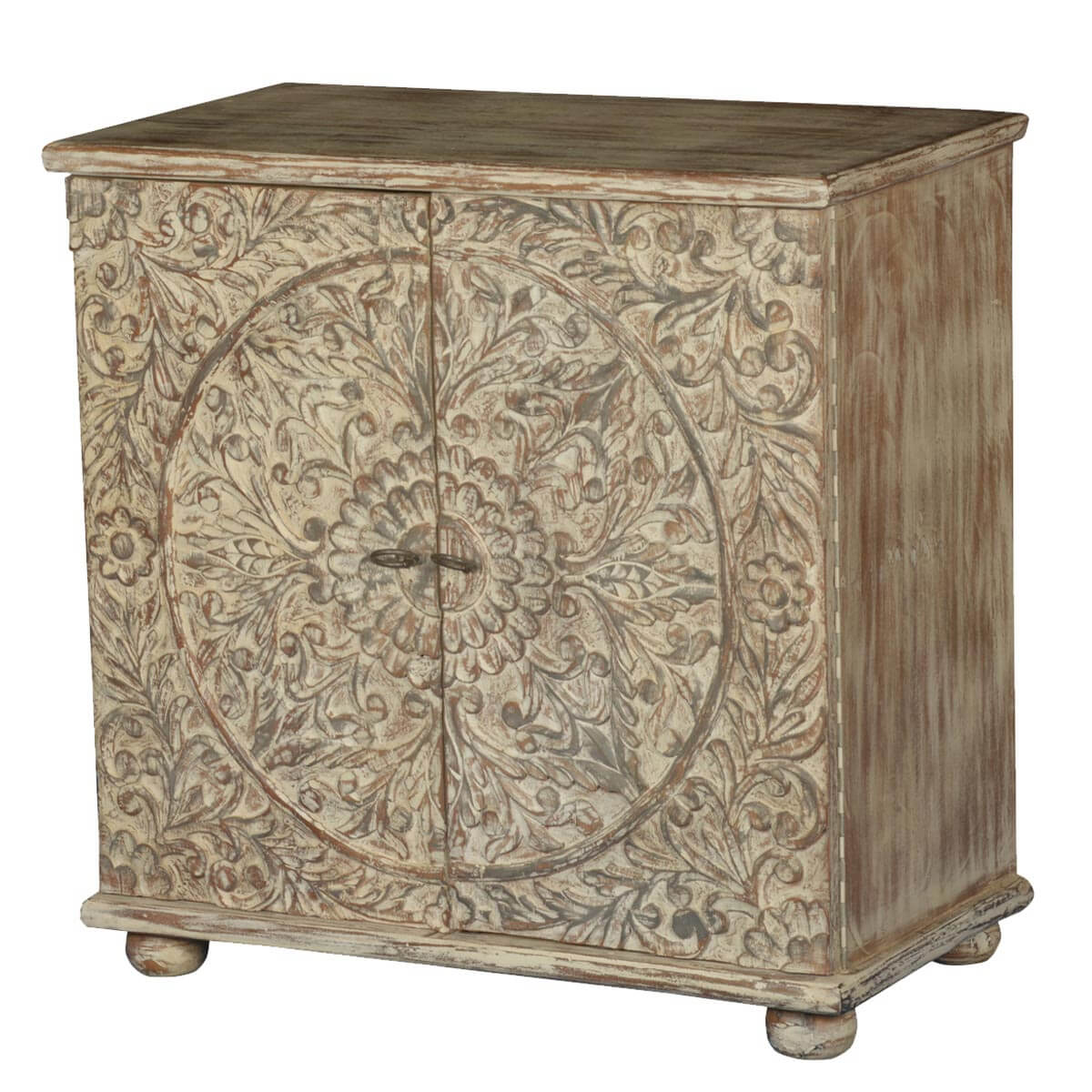 Frosted Garden Reclaimed Wood Hand Carved Storage Cabinet