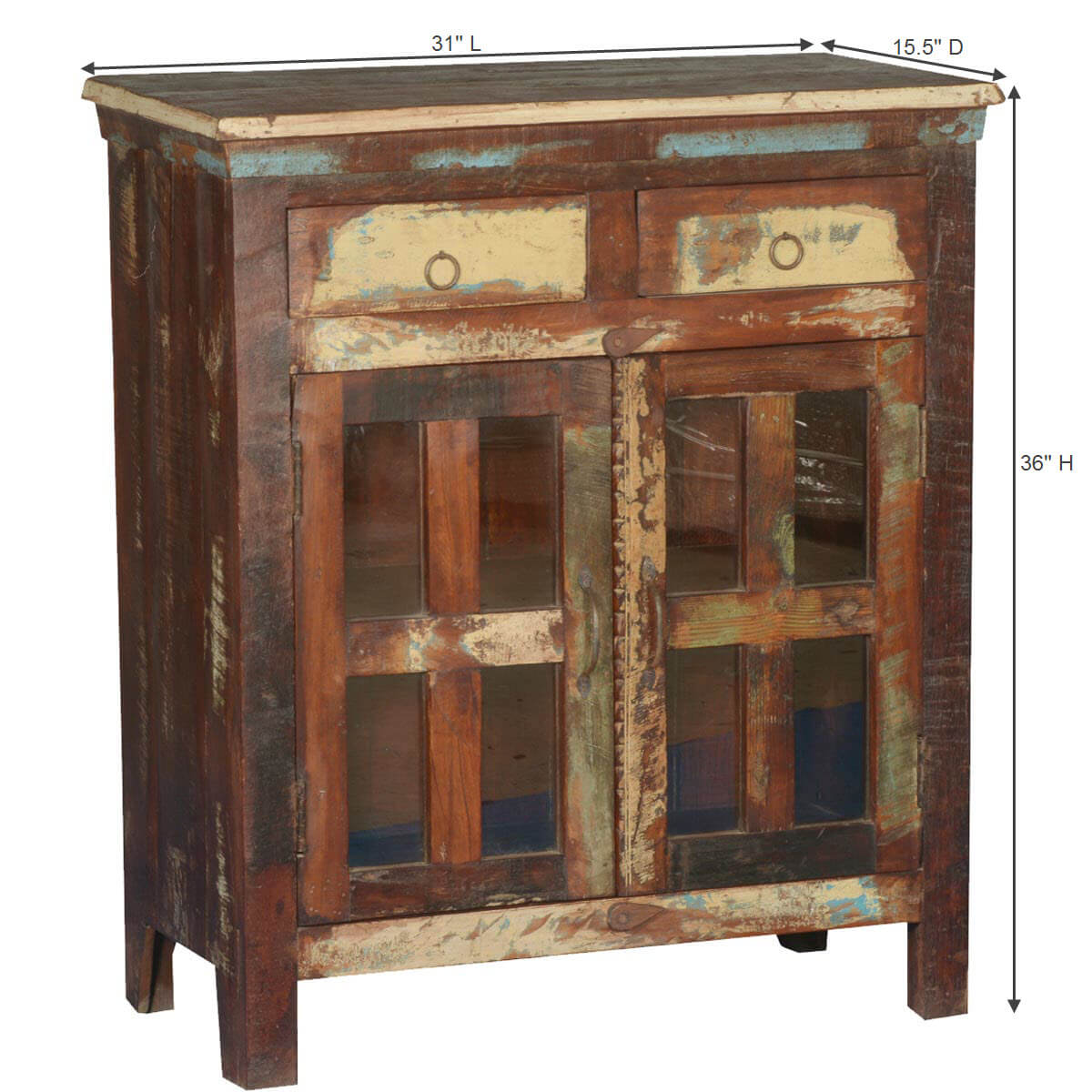 Philo Rustic Reclaimed Wood Glass Pane Door 2 Drawer Small