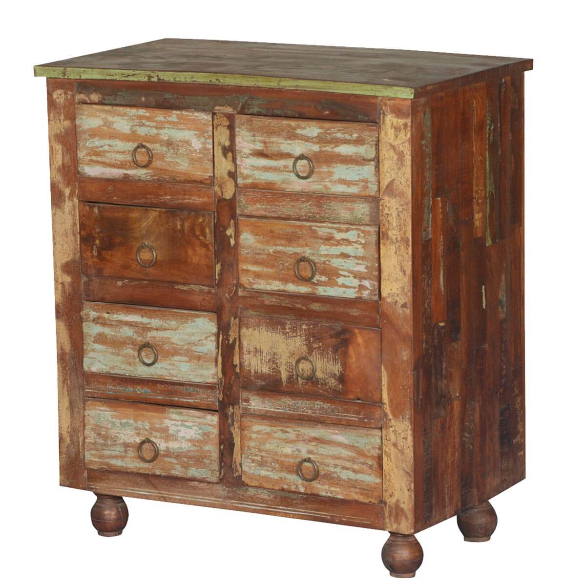 Fontana Rustic Reclaimed Wood 8 Drawer Double Dresser