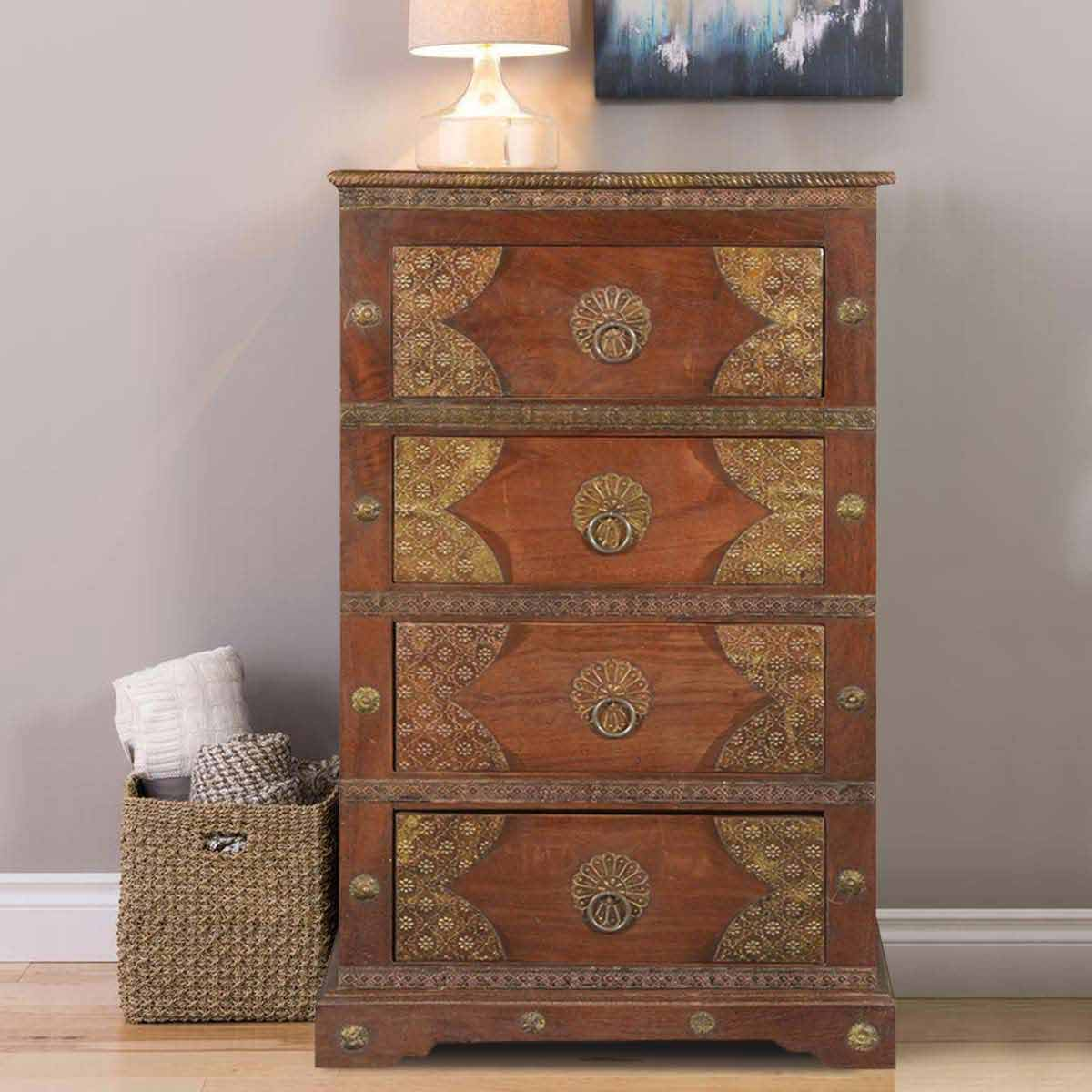 Elizabethan Traditional Brass Inlay Mango Wood Small Chest Of Drawers