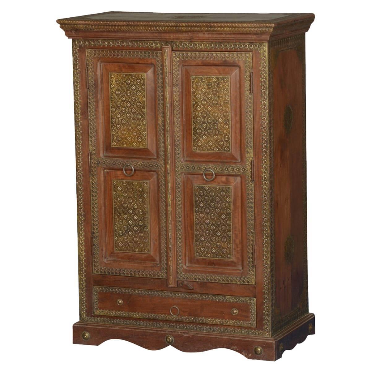 Elizabethan Mango Wood Brass Inlay Traditional Storage Cabinet