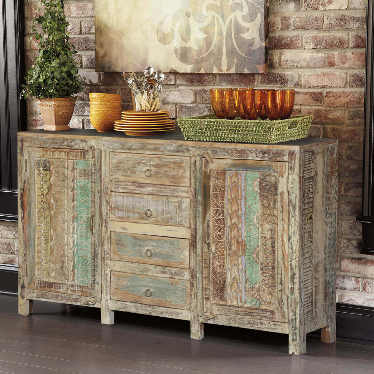 Frosted Rustic Reclaimed Wood Handcrafted 4 Drawer Large Sideboard
