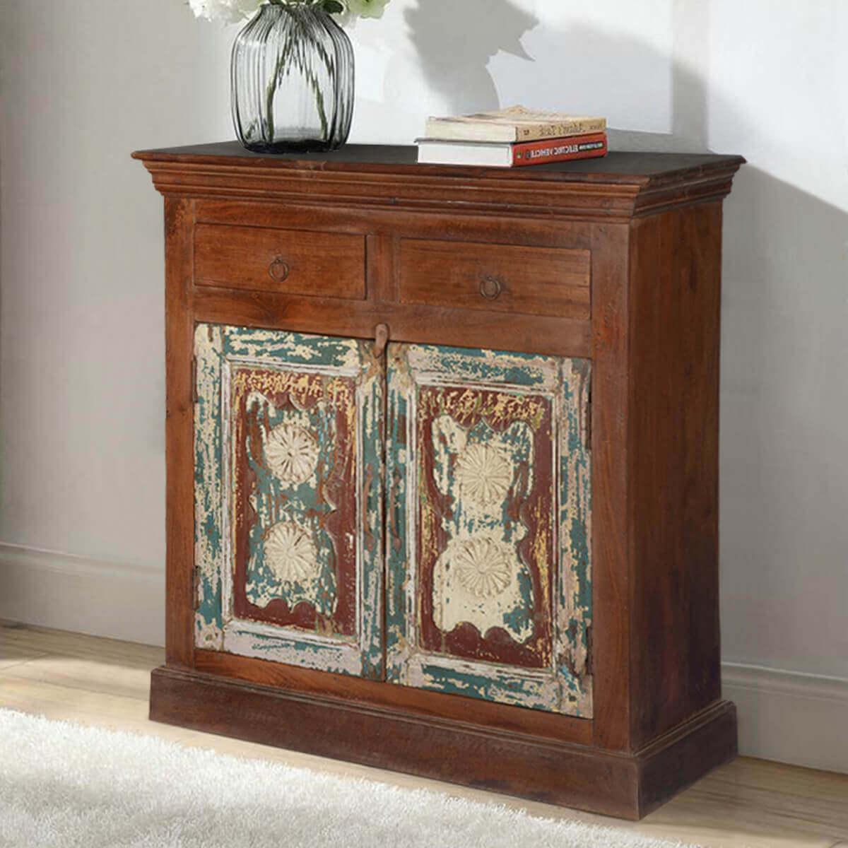 Ebro Rustic Reclaimed Wood Handmade 2 Drawer Buffet Cabinet