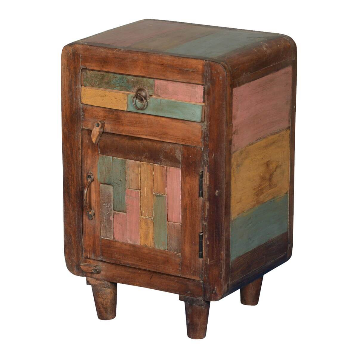 Rainbow Patches Reclaimed Wood Nightstand End Table Cabinet