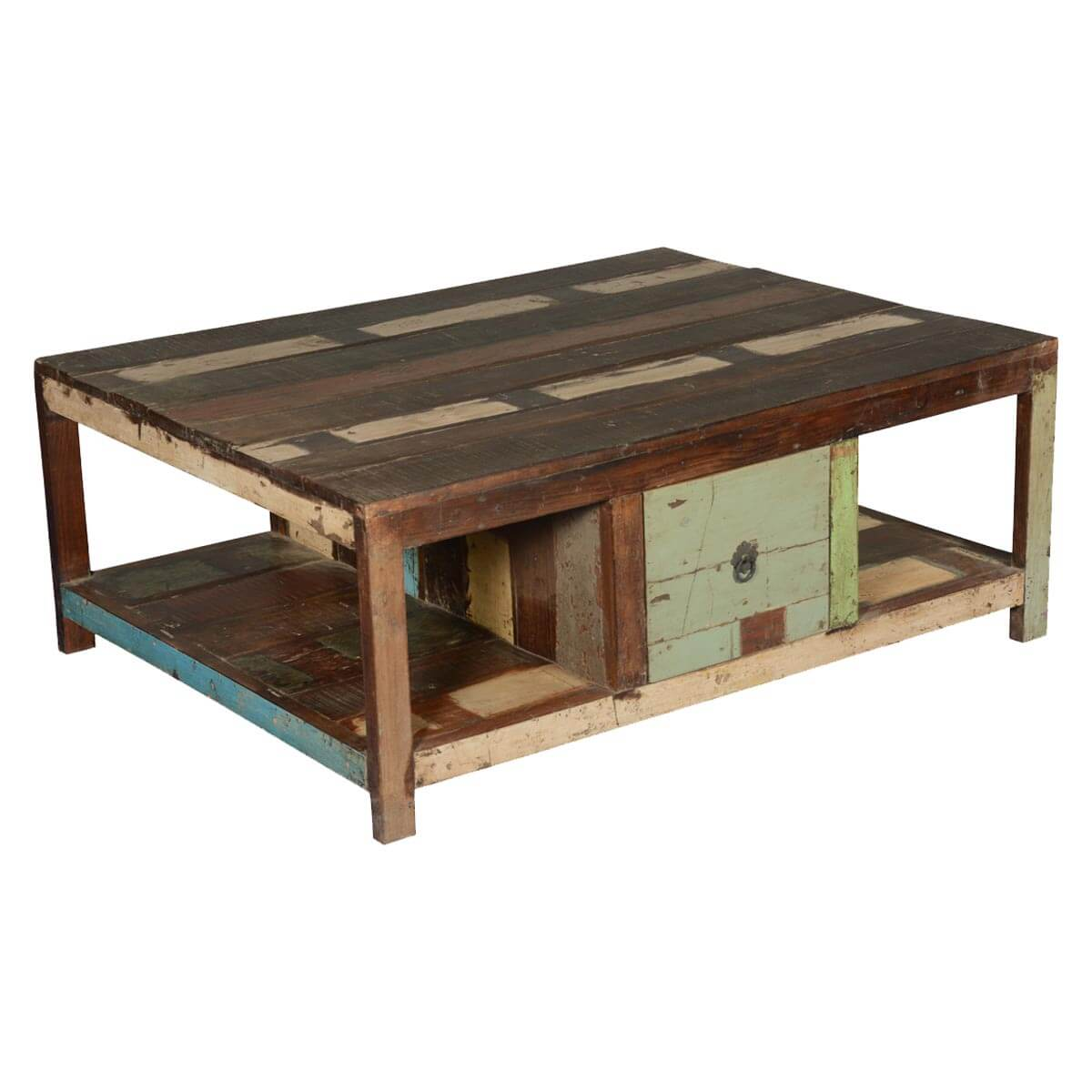 Rustic Paint Patches Reclaimed Wood 2-Drawer Coffee Table